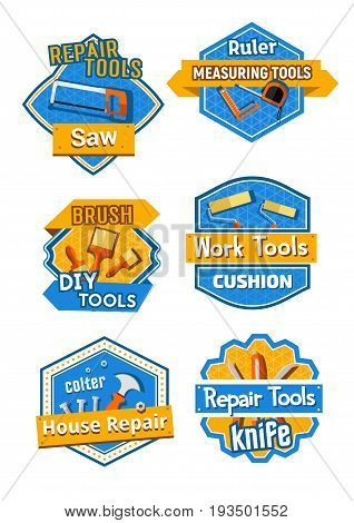 Home repair and construction service company icons set. Vector isolated symbols of carpentry saw, ruler measure or DIY toolbox of paint brush, hammer and nails or screwdriver and screws or bolts
