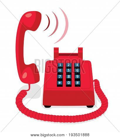 Red stationary phone with button keypad and raised handset. Vector illustration.