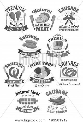 Meat products and sausages icons of premium butchery or meat market shop. Vector isolated brisket ham or bacon, brats, wiener and frankfurter sausages, salami or cervelat and beefsteak or chicken leg