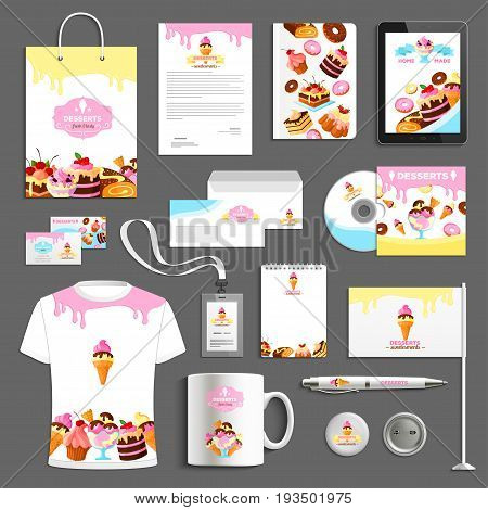 Desserts or bakery company vector identity templates set of corporate branding promo stationery supplies t-shirt apparel, business card, flag or mug and badge, blanks with cakes and sweets design