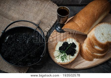 Sandwich With Black Caviar And Butter
