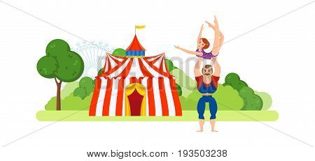 Circus chapiteau building located in park and entertainment attractions, main entrance to premises. Athlete, holds on hands gymnast girl in sportswear. Vector illustration in cartoon style.