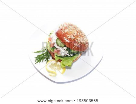 Freshness delicious fish sandwich on plate against white background