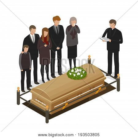 Funeral ritual concept. Burial, grave, coffin icon or symbol. Cartoon vector illustration isolated on white background