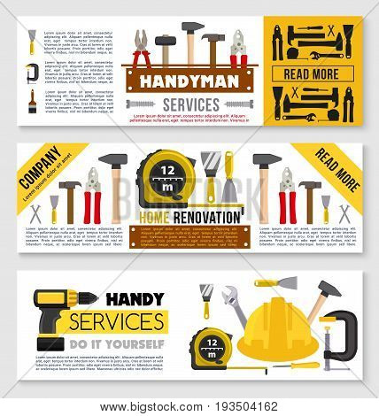 Handyman service and home renovation or repair company banners of handyman work tools. Vector toolbox of fix instruments hammer mallet, saw or drill and screwdriver, spatula trowel and spanner wrench poster