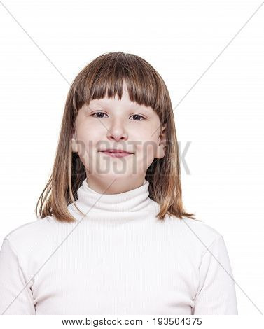 emotional Headshot of happy school girl isolated on white