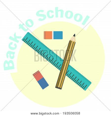 Flat vector ruler pencil and eraser icons. School and office tools for geometry drawing and draftsmanship. Education equipment symbol. Cute cartoon study symbol