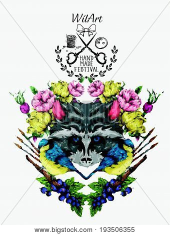 Wonderful Animal Raccoon Hand Made Watercolor in Vector illustration