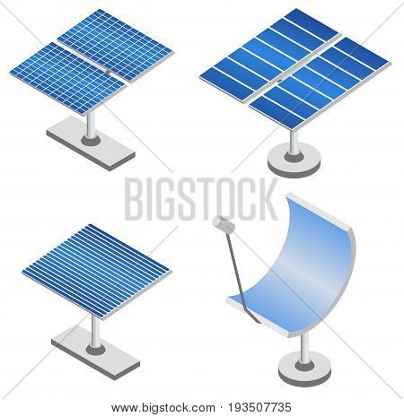 Set of solar panels in isometric projection. Renewable energy source. Eco friendly power technology. Vector illustration.
