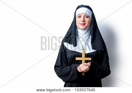 Young Smiling Nun With Cross