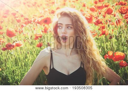 Pretty Woman Or Surprised Girl In Field Of Poppy Seed