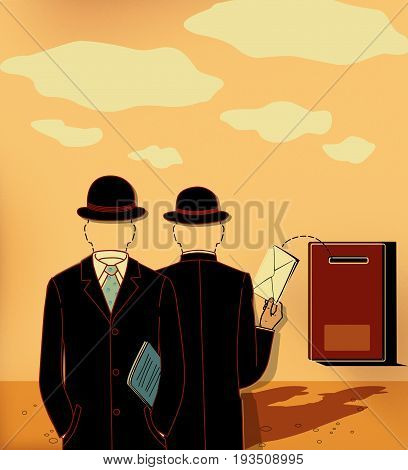 Two silhouettes of men in business suits hats and without faces put the envelope in the mailbox