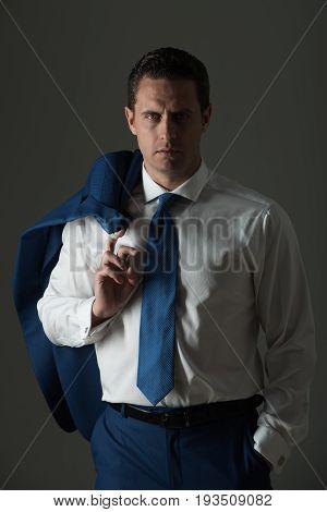 Businessman Posing In Fashionable White Shirt