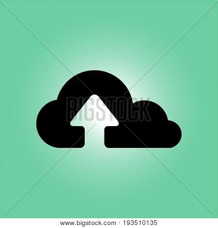 Upload from cloud icon.  Upload button.  Flat  design style.