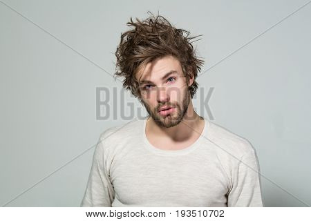 Sleepy Man With Long Uncombed Hair Wake Up In Morning