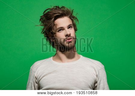 Hair And Beard Of Man In White Underwear