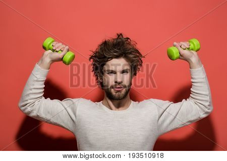 Handsome Man With Barbell Doing Morning Exercise, Has Uncombed Hair