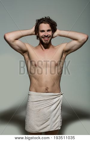 Happy Man In White Towel, Morning Wake Up And Shower