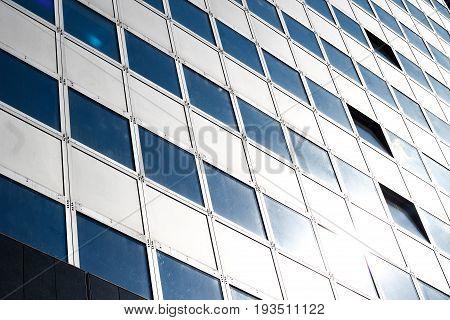 Modern White Bulding With Windows. Architecure Detail