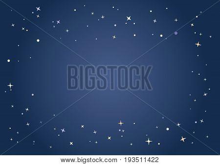 Starlit Pattern Border And Dark Evening Sky Background