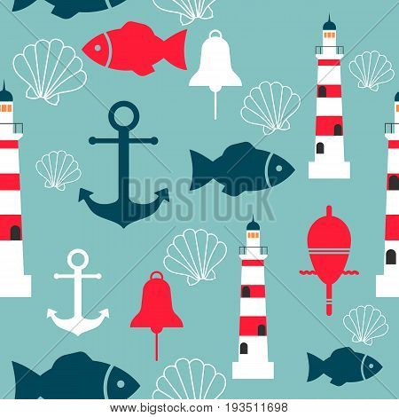 Vector seamless pattern with sea elements: lighthouses, anchors, fish, shell. Can be used for wallpapers, web page backgrounds. Eps10