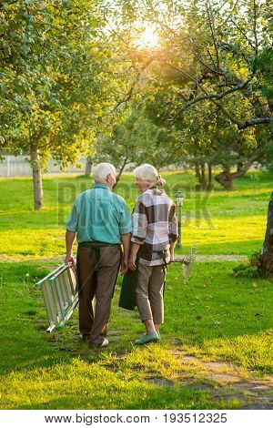 Elderly gardeners couple, back view. Old man and woman, summer. Life away from bustle.