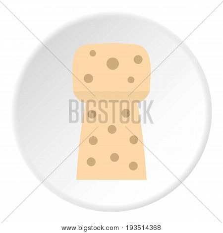 Wine wooden cork icon in flat circle isolated vector illustration for web