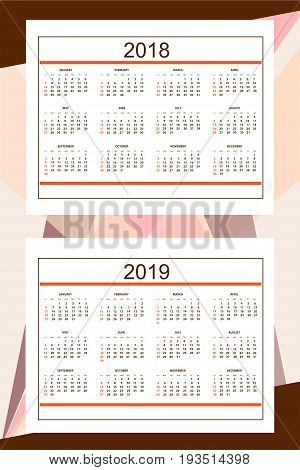Classic american calendar for wall year 2018 and 2019 on the abstract background. English language. Week starts on Sunday. There are all 12 month. eps 10