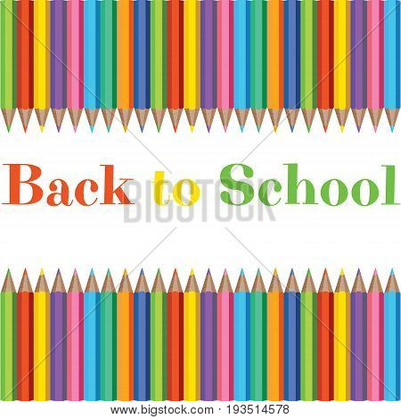 Set of Realistic Colorful Pencils in White Background with Texture for Back to School with space for message.
