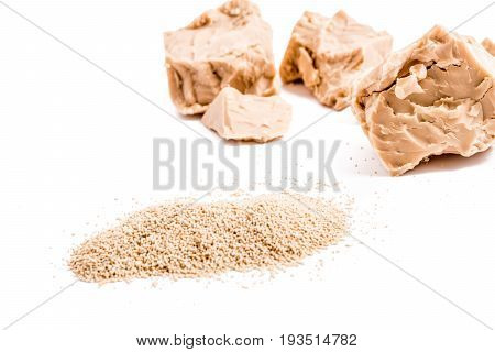 fresh and dried yeast isolated on white background. bakery ingredient and supplement