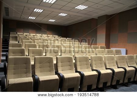 Cinema or theater seats ,sequential chairs close up image