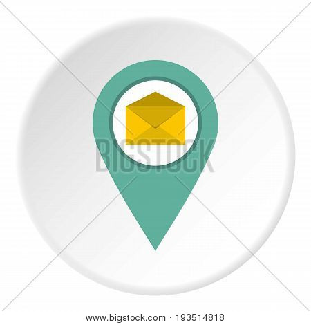Geo tag mail icon in flat circle isolated vector illustration for web