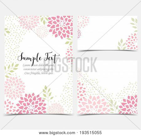 Vector illustration pink flowers on a white background. Floral invitations. Set of greeting cards