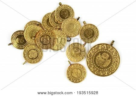 Turkish gold , close up image .