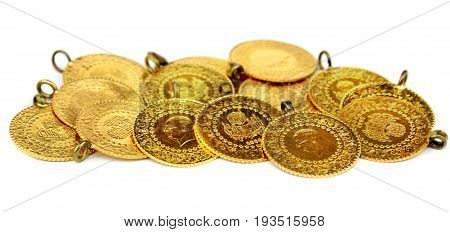 Gold coins , close up image .
