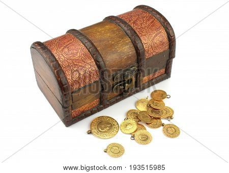 Treasure chest filled with gold close up image