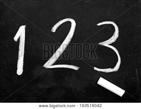 Handwriting numbers 123 and chalk on blackboard