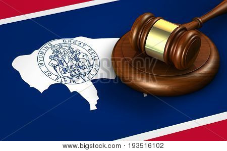 Wyoming US state law legal system and justice concept with a 3D rendering of a gavel on Wyomingite flag.
