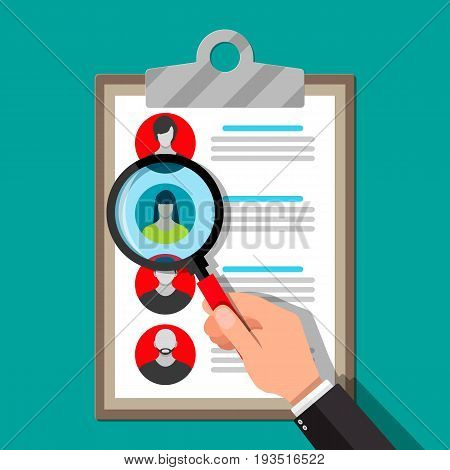 Human resources management concept, searching professional staff, work. Found right resume. Clipboard and hand with magnifying glass. Vector illustration in flat style