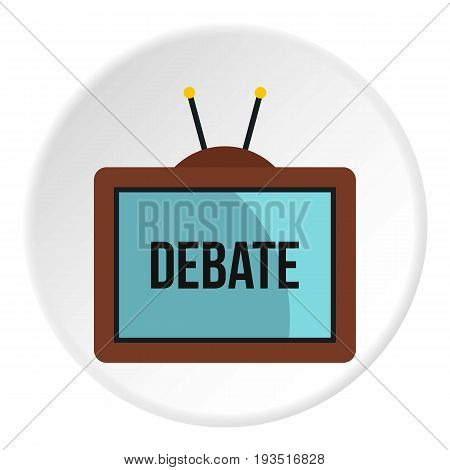 Retro TV with Debate word on the screen icon in flat circle isolated vector illustration for web