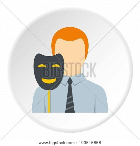 Businessman holding fake mask smile icon in flat circle isolated vector illustration for web