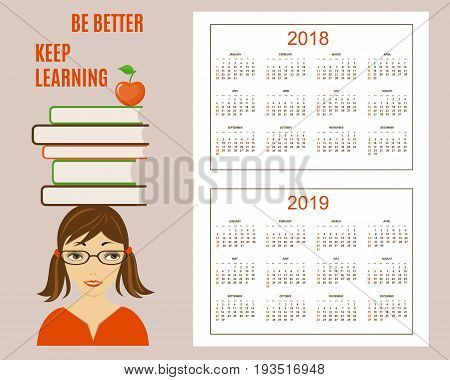 Classic american calendar for wall year 2018 and 2019 with learning concept. English language. Week starts on Sunday. There are all 12 month. eps 10