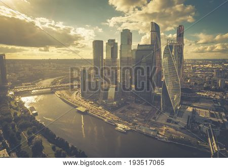 Aerial view of Moscow downtown, Russia. The vintage photo.