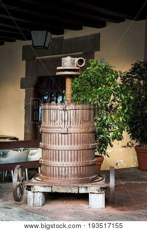 Ancient olive oil making machine in Barcelona, Spain