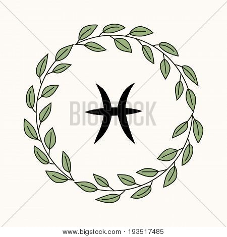 Hand drawing flat pisces symbol in rustic floral wreath