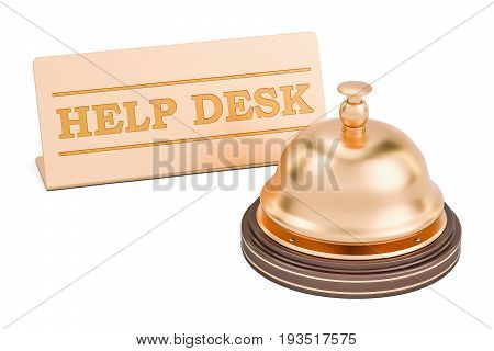 Help desk concept. Reception bell with plate 3D rendering isolated on white background