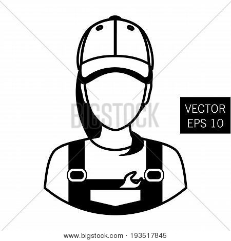 Icon mechanic. Repair girl avatar. Car Repair. Icon flat circle style. Thick outline. Stock vector.