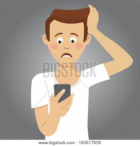 Young worried man holding smartphone received bad message. Flat illustration