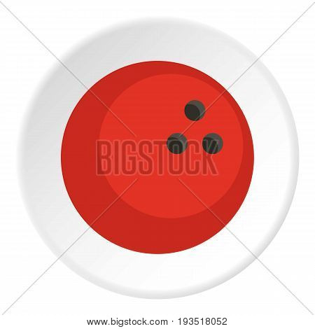Red marbled bowling ball icon in flat circle isolated vector illustration for web