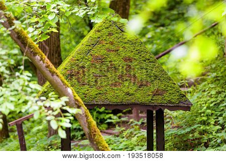 Abandoned woden summerhouse in a park in summer